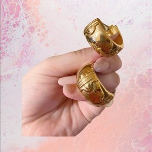 Auth. Givenchy Rare Vintage Chunky Gold Hoops